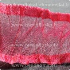jorg0003 apie 25 mm, rausva spalva, organzinė juostelė, 1 m.