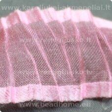 JORG0004 apie 25 mm, šviesi, rožinė spalva, organzinė juostelė, 1 m.