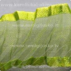 jorg0008 apie 25 mm, žalia spalva, organzinė juostelė, 1 m.
