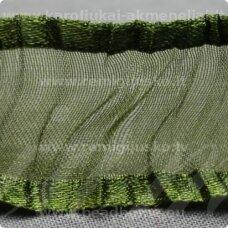 JORG0023 apie 25 mm, žalia spalva, organzinė juostelė, 1 m.