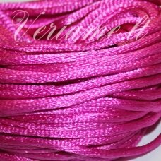 jp0045 apie 2 mm, rožinė spalva, satino virvutė, 10m.