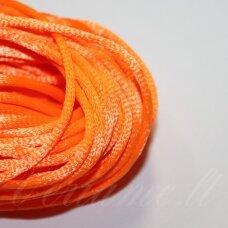 jp0065 apie 2 mm, ryški, oranžinė spalva, satino virvutė, 10m.