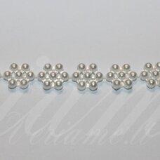 jpk0011 apie 10 mm, balta spalva, akrilinių karoliukų juostelė, apie 100 cm.