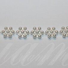 jpk0011 apie 10 mm, balta spalva, akrilinių karoliukų juostelė, 50 cm.