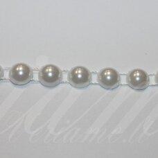 jpk0012 apie 10 mm, balta spalva, akrilinių karoliukų juostelė, 50 cm.
