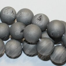 JSAGDR0001-APV-18 apie 18 mm, apvali forma, sidabrinė spalva, druzy agatas, apie 22 vnt.