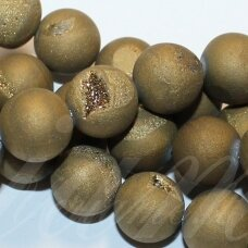jsagdr0002-apv-08 about 8 mm, round shape, gold color, agate (druzy), about 48 pcs.
