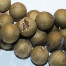 jsagdr0002-apv-10 apie 10 mm, apvali forma, auksinė spalva, agatas (druzy), apie 37 vnt.