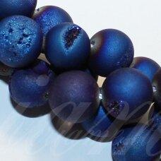 JSAGDR0004-APV-10 apie 10 mm, apvali forma, ryški, mėlyna spalva, druzy agatas, apie 37 vnt.