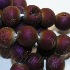 JSAGDR0011-APV-05 apie 5 mm, apvali forma,  violetinė spalva, druzy agatas, apie 70 vnt.