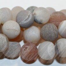 jsagdr0013-apv-06 apie 6 mm, apvali forma, marga, rusva spalva, agatas (druzy), apie 62 vnt.