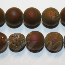 jsagdr0021-apv-14 apie 14 mm, apvali forma, marga, violetinė spalva, agatas (druzy), apie 28 vnt.