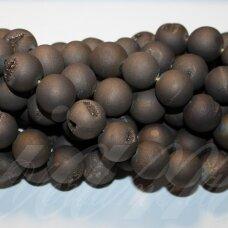 jsagdr0023-apv-08 apie 8 mm, apvali forma, marga, matinė, tamsi, ruda spalva, agatas (druzy), apie 48 vnt.