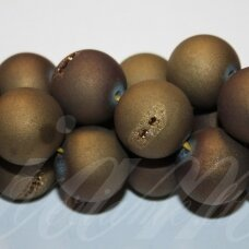 jsagdr0026-apv-16 apie 16 mm, apvali forma, auksinė spalva, agatas (druzy), apie 24 vnt.