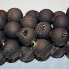 jsagdr0028-apv-18 apie 18 mm, apvali forma, ruda spalva, agatas (druzy), apie 22 vnt.