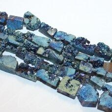 jsagdr0162-nf-10x6-15x10 apie 10 x 6 - 15 x 10 mm, netaisyklinga forma, ryški, marga, gelsva - violetinė spalva, agatas (druzy), apie 40 cm.