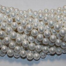 JSAKPE-BALT-APV-12 apie 12 mm, apvali forma, balta spalva, perlų masė, apie 32 vnt.