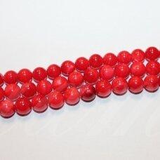 JSAKPE-RAUD3-APV-08 apie 8 mm, apvali forma, raudona spalva, perlų masė, apie 48 vnt.