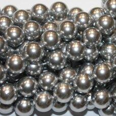 JSAKPE-SID-APV-10 apie 10 mm, apvali forma, sidabrinė spalva, perlų masė, apie 38 vnt.