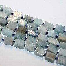 jsaqua-net4-13x9-15x10 apie 13 x 9 - 15 x 10 mm, netaisyklinga forma, akvamarinas, apie 38 cm.