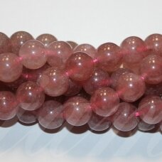 jsbras-apv-08 about 8 mm, round shape, strawberry quartz, about 48 pcs.