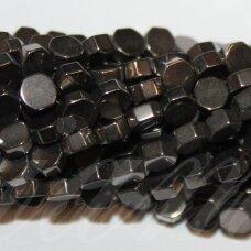 JSHA-6BR-4x2 apie 4x2 mm, šešiakampio forma, hematito spalva, hematitas, apie 100 vnt.