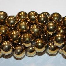 JSHA-AUK-APV-12 apie 12 mm, apvali forma, auksinė spalva, hematitas, apie 32 vnt.