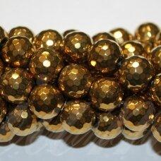 jsha-auk-apv-br-08 apie 8 mm, apvali forma, briaunuotas, auksinė spalva, hematitas, apie 48 vnt.