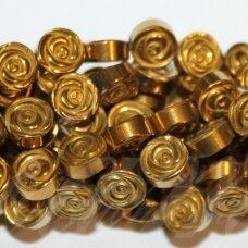 jsha-auk-disk-06x2.8 apie 6 x 2.8 mm, disko forma, auksinė spalva, hematitas, apie 64 vnt.