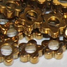 JSHA-AUK-GEL-6x2 apie 6 x 2 mm, gėlytės forma, auksinė spalva, hematitas, apie 77 vnt.