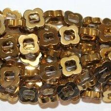 JSHA-AUK-GEL2-8x2 apie 8 x 2 mm, gėlytės forma, auksinė spalva, hematitas, apie 50 vnt.