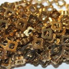 JSHA-AUK-GEL3-8x2 apie 8 x 2 mm, gėlytės forma, auksinė spalva, hematitas, apie 50 vnt.