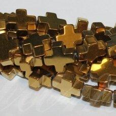 JSHA-AUK-KRYZ2-8x8x3 apie 8 x8 x 3 mm,kryželio formos, aukso spalva, hematitas, apie 50 vnt.