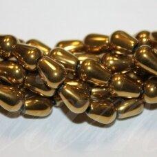 JSHA-AUK-LAS-08x5.5 apie 8 x 5.5 mm, lašo forma, auksinė spalva, hematitas, apie 50 vnt.