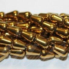 JSHA-AUK-LAS-09x6.5 apie 9 x 6.5 mm, lašo forma, auksinė spalva, hematitas, 45 vnt.