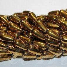 JSHA-AUK-LAS-12x8 apie 12 x 8 mm, lašo forma, auksinė spalva, hematitas, 34 vnt.
