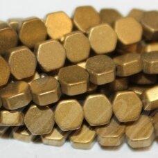 JSHA-AUK-MAT-6BR-4x2 apie 4x2 mm, šešiakampio forma, matinė, auksinė spalva, hematitas, apie 100 vnt.