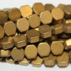 JSHA-AUK-MAT-6BR-8x3 apie 8x3 mm, šešiakampio forma, matinė, auksinė spalva, hematitas, apie 52 vnt.