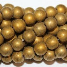 JSHA-AUK-MAT-APV-04 apie 04 mm, apvali forma, matinė, auksinė spalva, hematitas, apie 92 vnt.