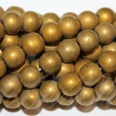 JSHA-AUK-MAT-APV-10 apie 10 mm, apvali forma, matinė, auksinė spalva, hematitas, apie 38 vnt.