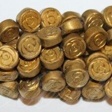 JSHA-AUK-MAT-DISK-06x2.8 apie 6 x 2.8 mm, disko forma, matinė, auksinė spalva, hematitas, apie 68 vnt.