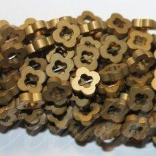 JSHA-AUK-MAT-GEL3-8x2 apie 8 x 2 mm, gėlytės forma, matinė, auksinė spalva, hematitas, apie 58 vnt.