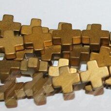 JSHA-AUK-MAT-KRYZ2-08x8x3 apie 8 x8 x 3 mm,kryželio forma, matinė, auksinė spalva, hematitas, apie 50 vnt.