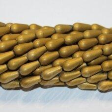 JSHA-AUK-MAT-LAS-12x6 apie 12 x 6 mm, lašo forma, matinė, auksinė spalva, hematitas, apie 33 vnt.