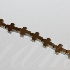 jsha-hak-kryz3-10x8x3 apie 10 x 8 x 3 mm, kryželio forma, chaki spalva, hematitas, apie 39 vnt.