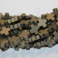 jsha-hak-mat-kryz-08x8x3 about 8 x8 x 3 mm, cross shape, matte, haki color, hematite, about 50 pcs.
