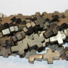 jsha-hak-mat-kryz3-10x8x3 apie 10 x 8 x 3 mm, kryželio forma, matinė, chaki spalva, hematitas, apie 39 vnt.