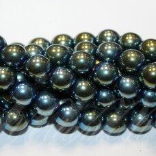 jsha-mz-apv-14 apie 14 mm, apvali forma, žalsvai melsva spalva, hematitas, apie 28 vnt.