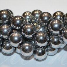jsha-sid-apv-03 apie 3 mm, apvali forma, sidabrinė spalva, hematitas, apie 130 vnt.