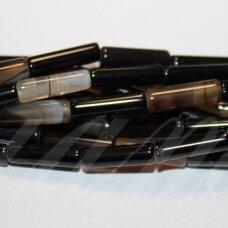 jskaa0013-cil-14x4 apie 14 x 4 mm, cilindro forma, marga, juoda spalva, rusva spalva, agatas, apie 30 vnt.